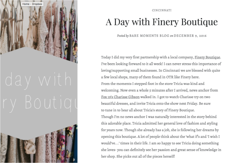 Bare Moments Blog - https://baremomentsblog.com/2016/12/09/a-day-with-finery-boutique/
