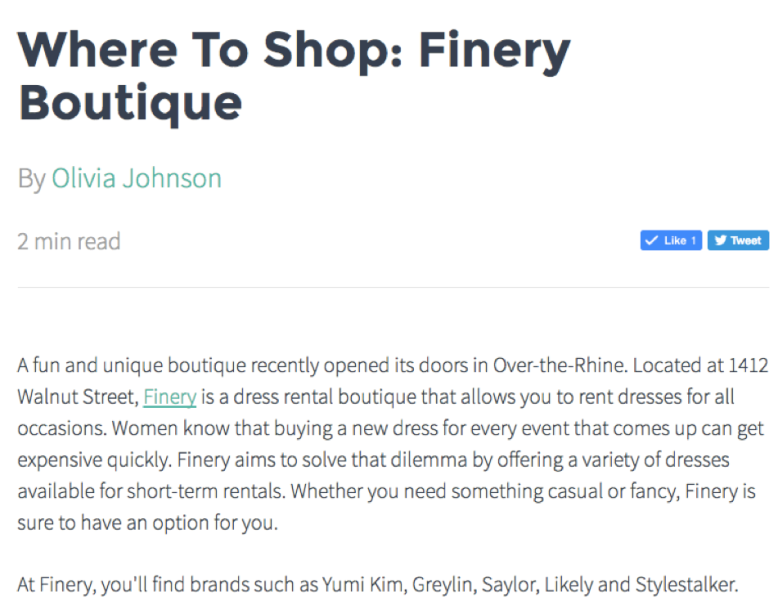 Johnson Real Estate Group Feature Article - http://johnsonrealestategroup.com/blog/Where-To-Shop-Finery-Boutique/28273